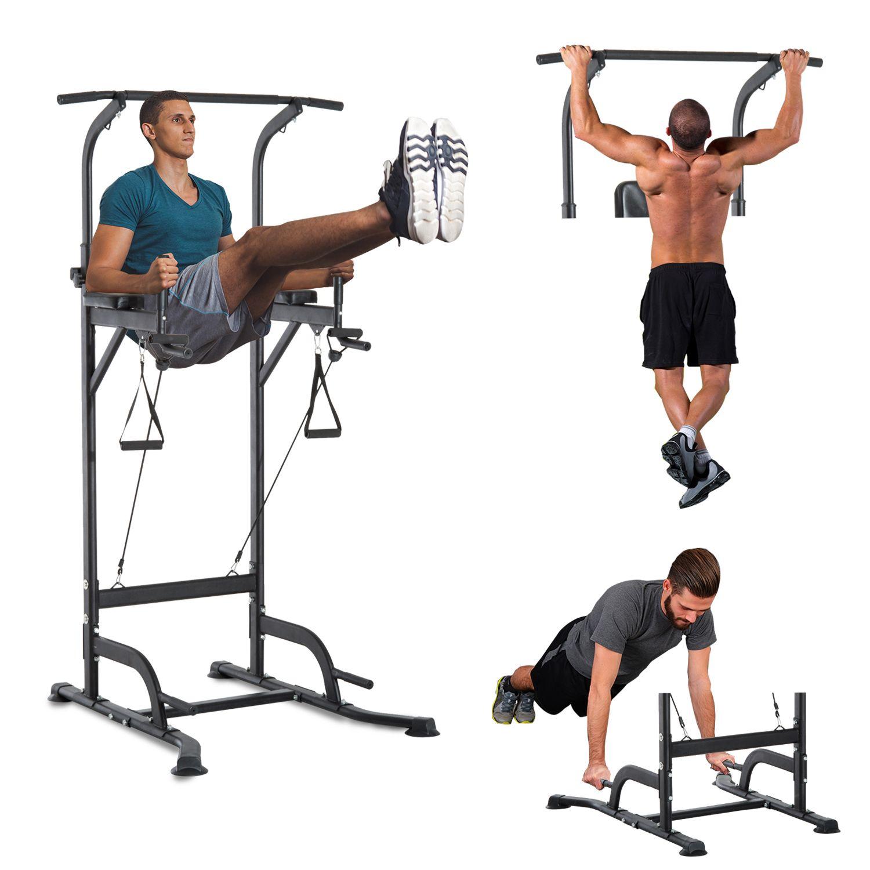 Jolitec Power Tower Máquina de Musculación 5 en 1 Ejercicios Dip Pull-up Flexiones y Abdominales