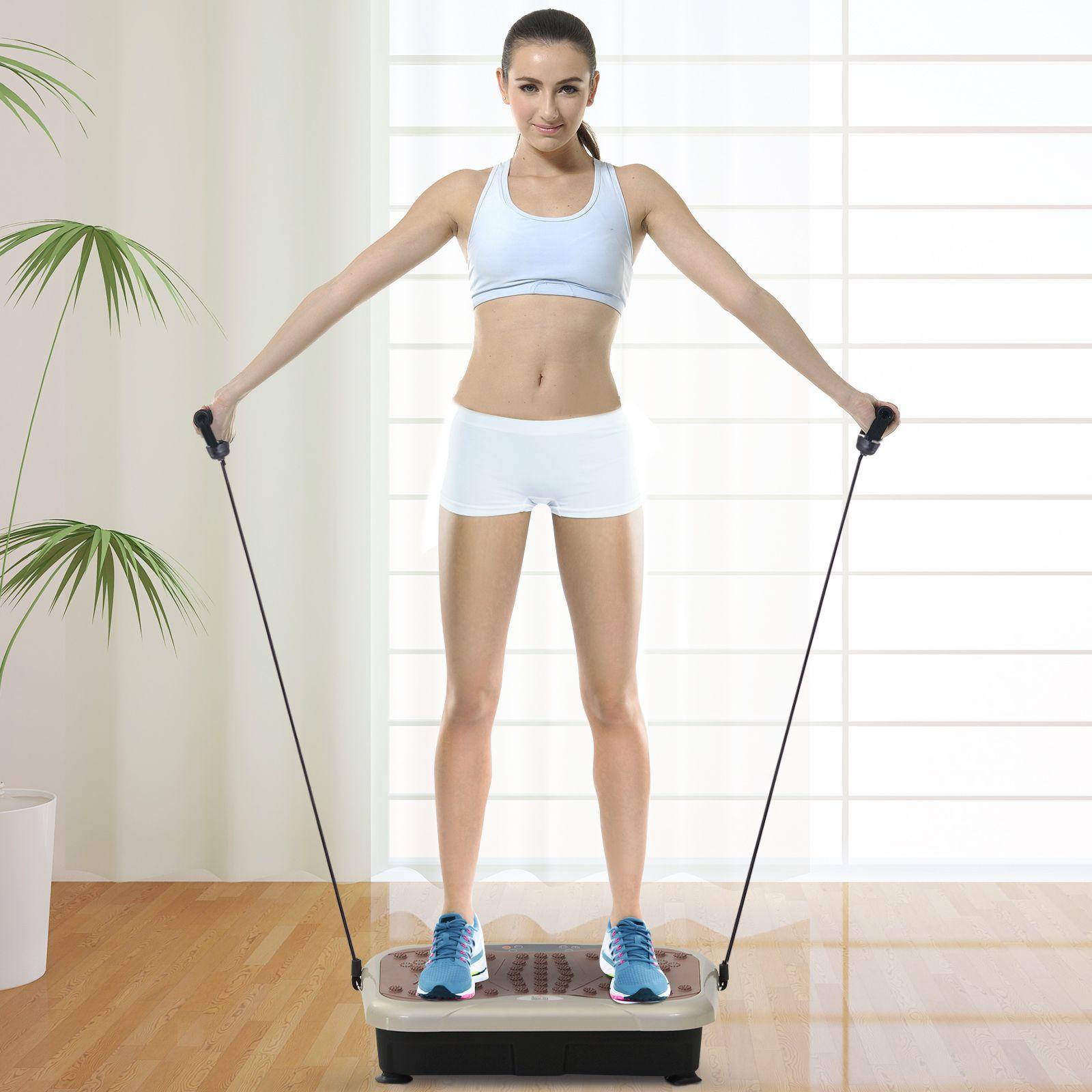 Jolitec® Plataforma Vibradora con 2 Bandas Elásticas para Fitness Entrenamiento