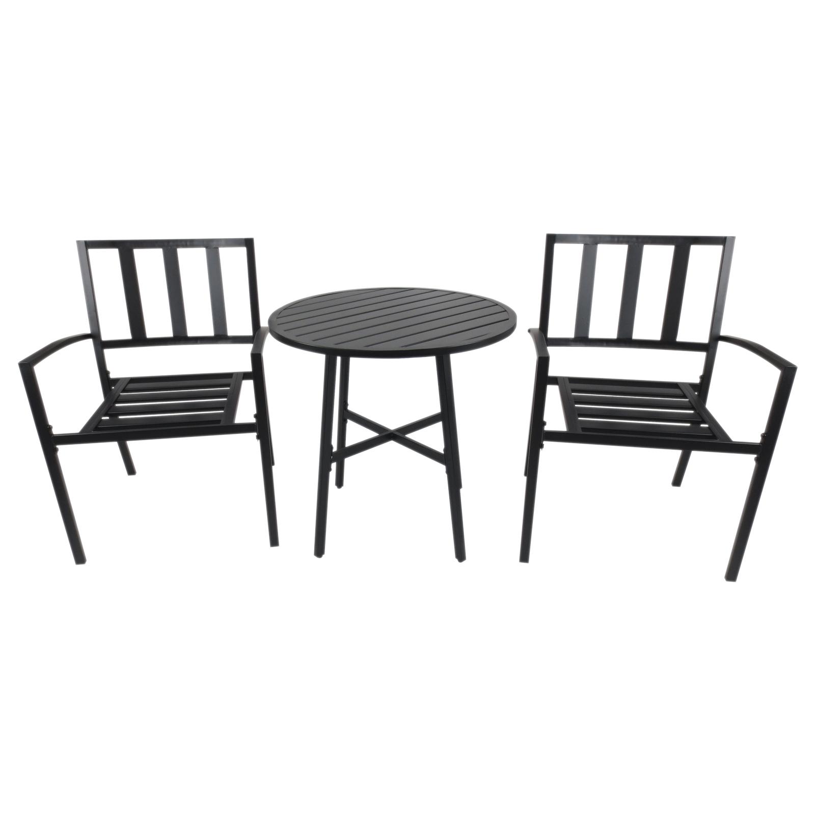 Conjuntos de Mesa y 2 Sillas de Jardín Muebles Comedor Exterior Bistro Café  Set Jardín Terraza Sillón Ancho y Cómodo Acero