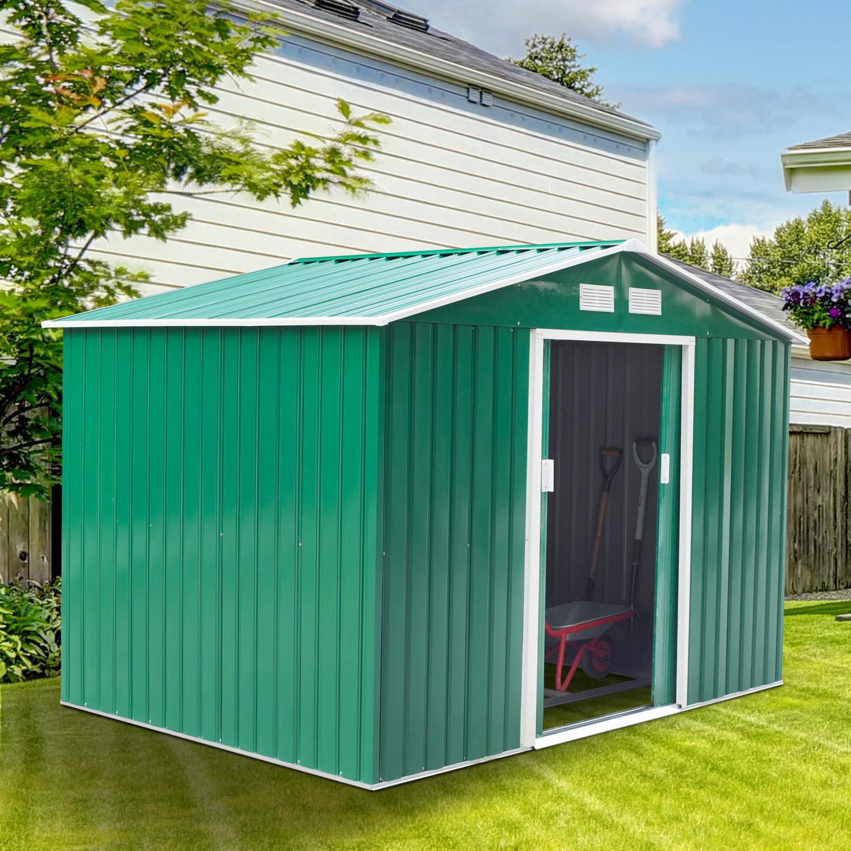 Caseta de Jardín tipo Cobertizo Metálico Verde para Almacenamiento de Herramientas - 277x181x192cm