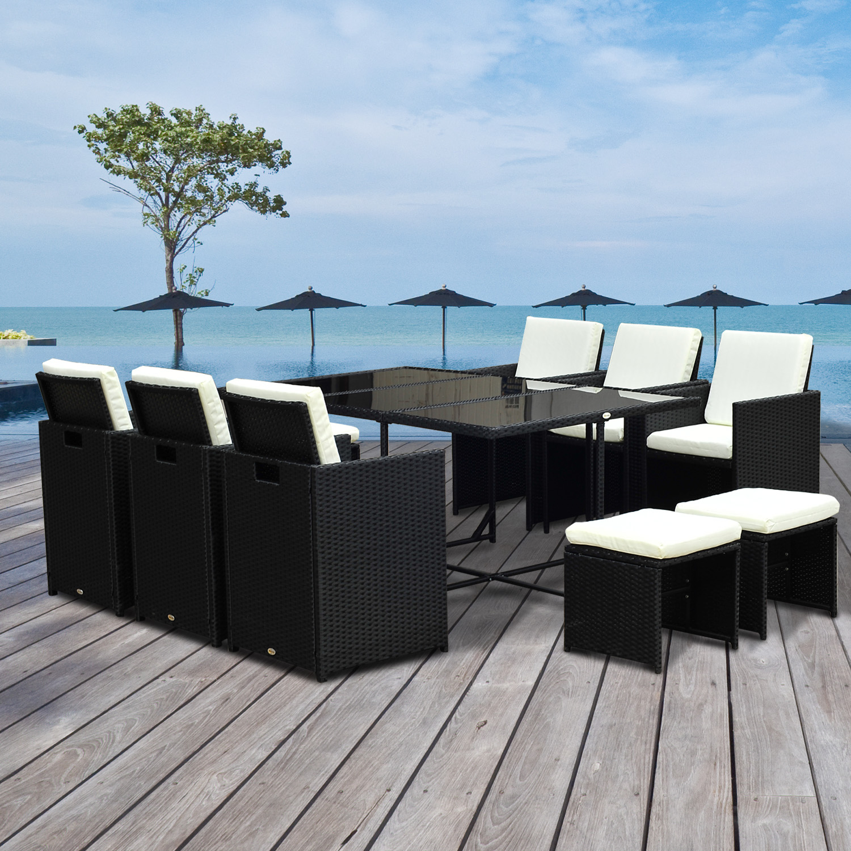 Conjunto de Muebles de exterior tipo Comedor para Jardín y Terraza - 11  piezas - Ratán Sintético - Negro