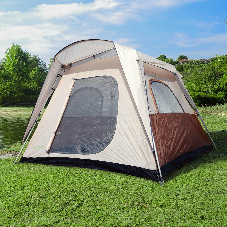 Tienda de Campaña Familiar 4-8 Personas Tipo Refugio para Playa Picnic y Camping Pop-Up Instantánea y Portátil con Bolsa de Transporte Ventanas Mosquitera Protección Solar UV 2.6x2.6x2.1m