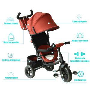Triciclo para Niños +18 Meses Rojo 96x53.5x101cm Rojo.
