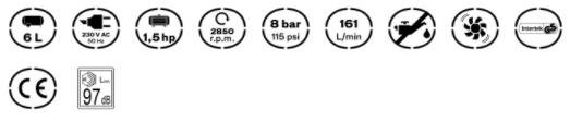 Caracterísiticas del Compresor High Wind 6 Vito Pro-Power sin aceite de 6L