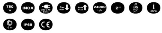 Características del Bomba Sumergible Sumidora Water Pump 750 Vito Agro