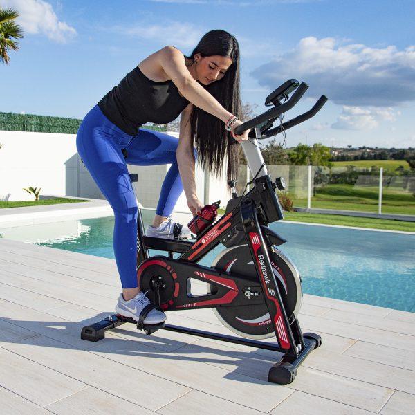 Bicicleta Spinning Red Hawk con botellín
