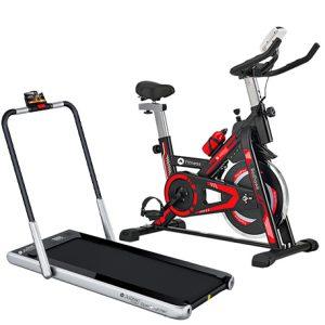 pack cinta de correr steel runner y bicicleta spinning red hawk