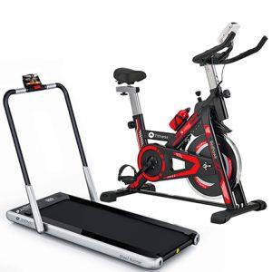 Bicicleta Spinning Red Hawk y Cinta de Correr Steel Runner Jolitec