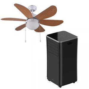 pack ventilador de techo y aire acondicionado